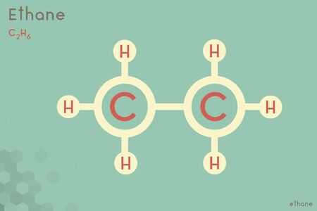 Large and detailed infographic of the molecule of Ethane. Illustration