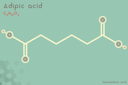 Large and detailed infographic of the molecule of adipic acid