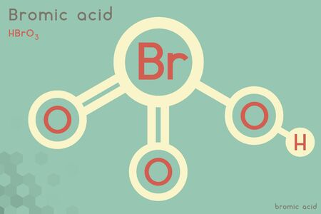 Large and detailed infographic of the molecule of Bromic acid