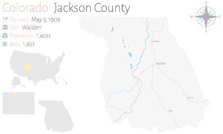 Large and detailed map of Jackson County in Colorado, USA.
