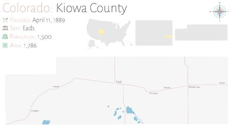 Large and detailed map of Kiowa County in Colorado, USA. Illustration