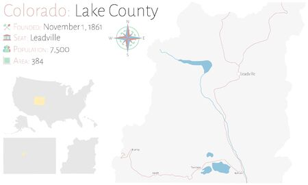 Large and detailed map of Lake County in Colorado, USA.