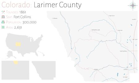 Large and detailed map of Larimer County in Colorado, USA.
