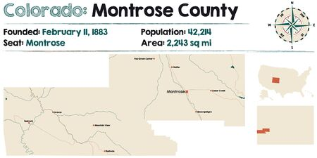 Large and detailed map of Montrose county in Colorado, United States.