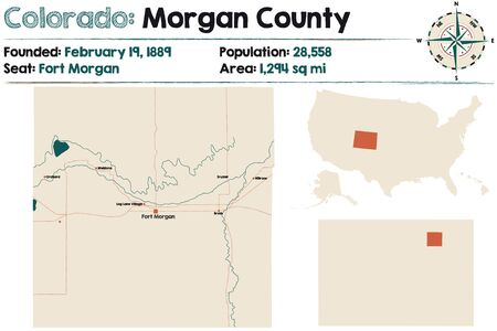 Large and detailed map of Morgan county in Colorado, United States. Illustration