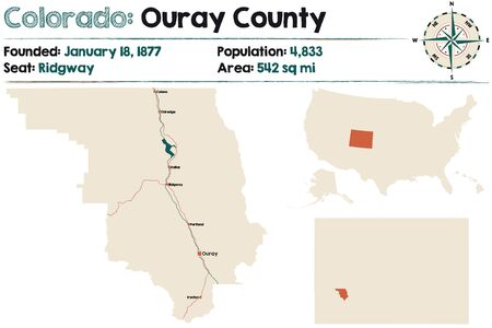 Large and detailed map of Ouray county in Colorado, United States.