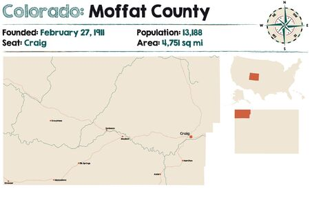 Large and detailed map of Moffat county in Colorado, United States. Illustration
