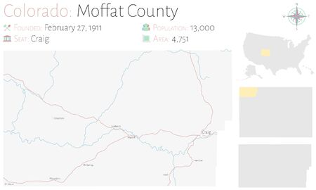 Large and detailed map of Moffat county in Colorado, United States. Ilustração