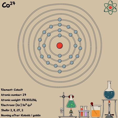 Large and colorful infographic on the element of cobalt. Ilustração