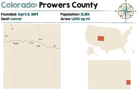 Large and detailed map of Prowers county in Colorado, United States.