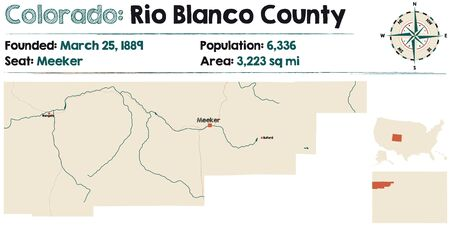 Large and detailed map of Rio Blanco county in Colorado, USA. Illustration