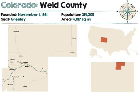Large and detailed map of Weld county in Colorado, United States. Illustration