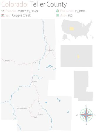 Large and detailed map of Teller county in Colorado, United States.