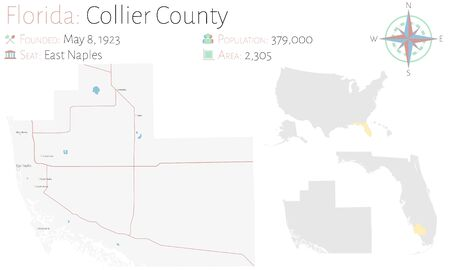 Large and detailed map of Collier county in Florida, United States. Illustration