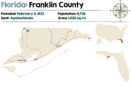 Large and detailed map of Franklin county in Florida, United States.