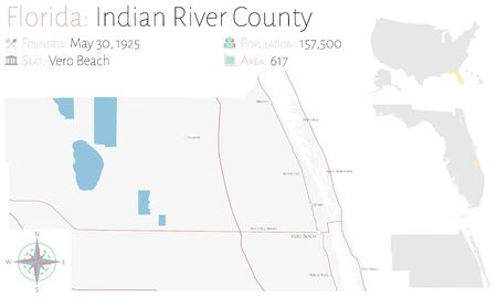 Large and detailed map of Indian River county in Florida, United States.