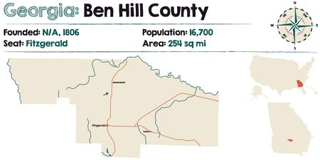 Large and detailed map of Ben Hill county in Georgia, United States.  イラスト・ベクター素材