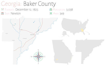Large and detailed map of Baker county in Georgia, USA.