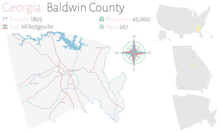 Large and detailed map of Baldwin county in Georgia, United States. Çizim