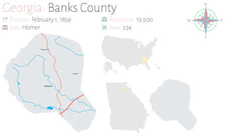 Large and detailed map of Banks county in Georgia, United States.
