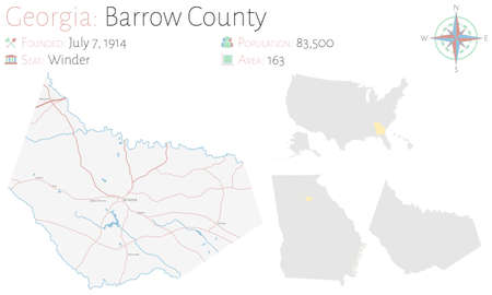 Large and detailed map of Barrow county in Georgia, United States.