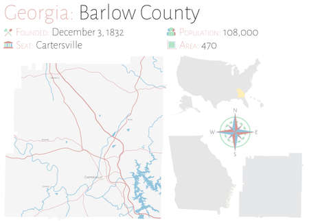 Large and detailed map of Barlow county in Georgia, United States.