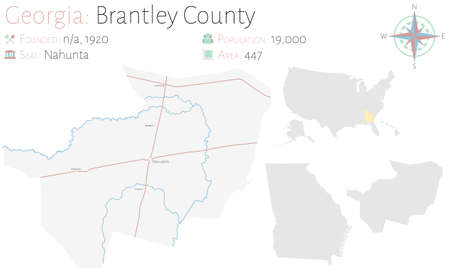 Large and detailed map of Brantley county in Georgia, United States.