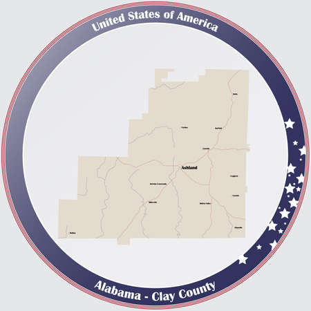 Round button with detailed map of Clay county in Alabama, USA.