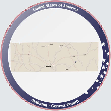 Round button with detailed map of Geneva county in Alabama, USA.