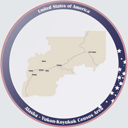 Round button with detailed map of Yukon-Koyukuk Census Area in Alaska, USA.
