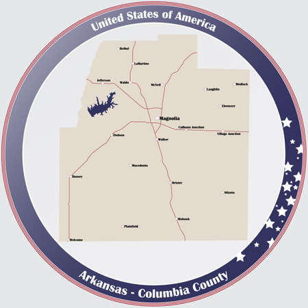 Round button with detailed map of Columbia County in Arkansas, USA.
