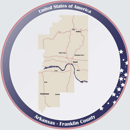 Round button with detailed map of Franklin County in Arkansas, USA. Иллюстрация