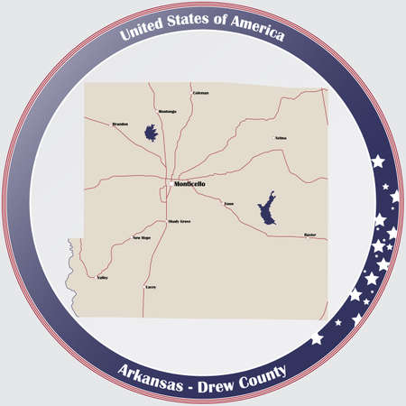 Round button with detailed map of Drew County in Arkansas, United States.  イラスト・ベクター素材