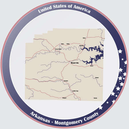 Round button with detailed map of Montgomery County in Arkansas, USA.