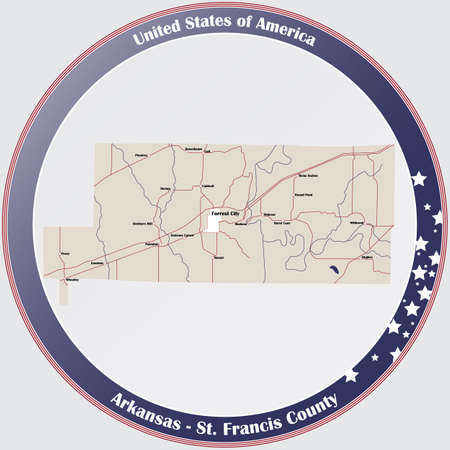 Round button with detailed map of St. Francis County in Arkansas, USA.