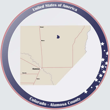 Round button with detailed map of Alamosa County in Colorado, USA.