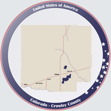 Round button with detailed map of Crowley County in Colorado, USA.