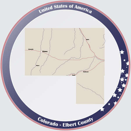 Round button with detailed map of Elbert County in Colorado, USA.