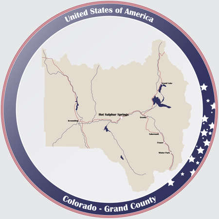 Round button with detailed map of Grand County in Colorado, USA.