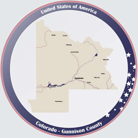 Round button with detailed map of Gunnison County in Colorado, USA.