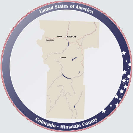 Round button with detailed map of Hinsdale County in Colorado, USA.