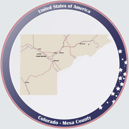 Round button with detailed map of Mesa County in Colorado, USA.