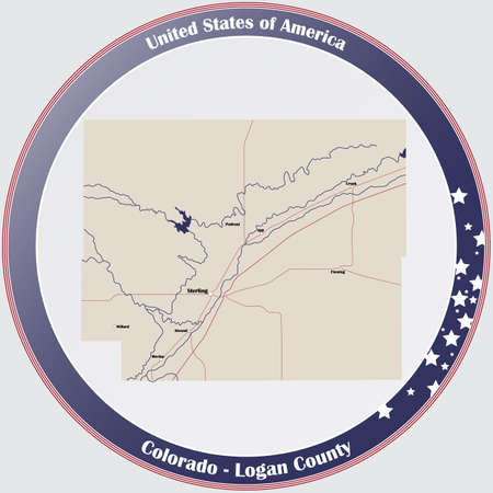Round button with detailed map of Logan County in Colorado, USA.