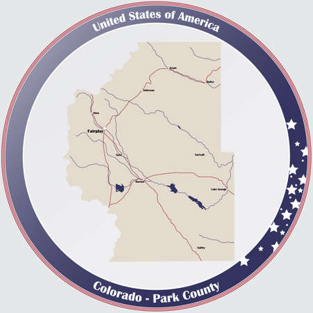 Round button with detailed map of Park County in Colorado, USA.