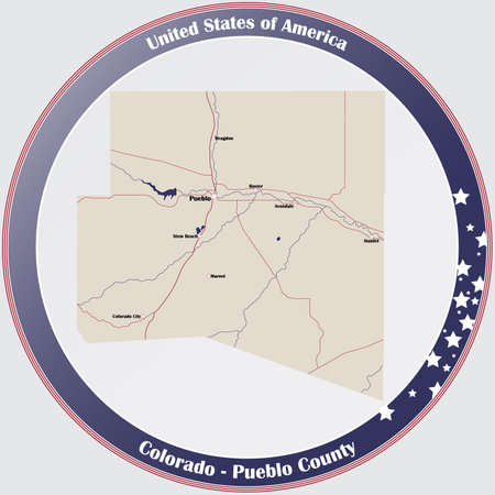 Round button with detailed map of Pueblo County in Colorado, USA.
