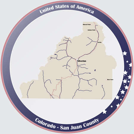 Round button with detailed map of San Juan County in Colorado, USA.
