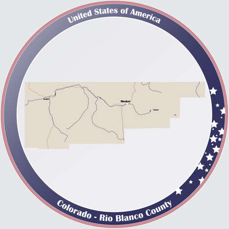Round button with detailed map of Rio Blanco County in Colorado, USA.