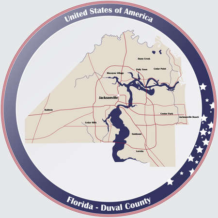 Round button with detailed map of Duval County in Florida, USA. Ilustração