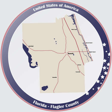 Round button with detailed map of Flagler County in Florida, USA.