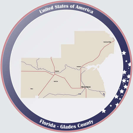 Round button with detailed map of Glades County in Florida, USA.